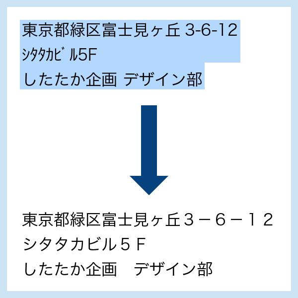 クリックポスト半角全角置換の図版