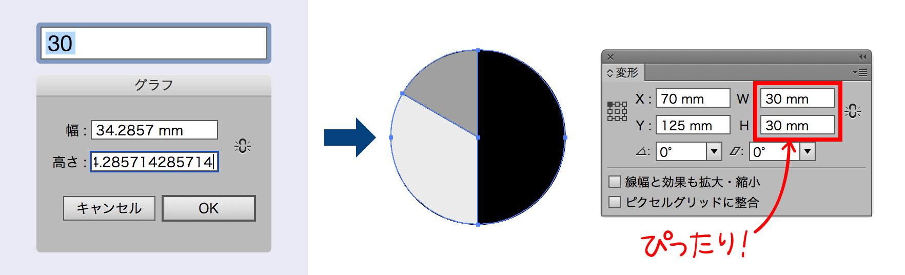 円グラフ準備スクリプト使用のイメージ図版