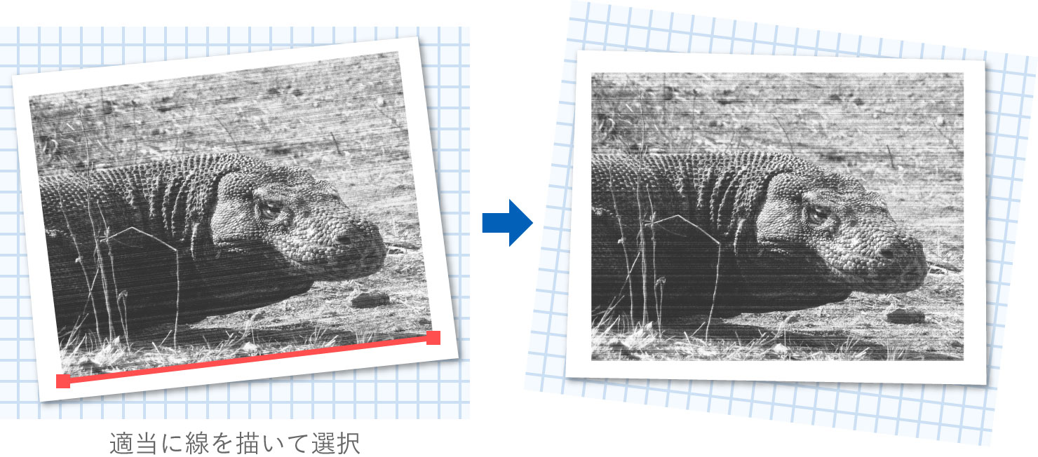 画像の角度を補正する図版