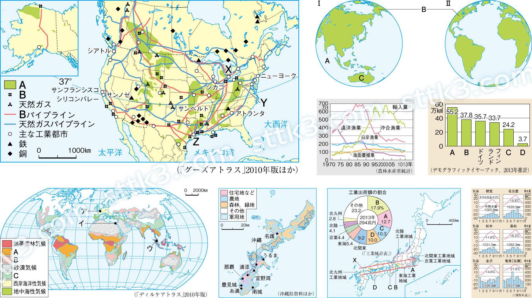 中学校社会(地理)の地図・グラフなど図版サンプル