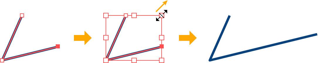 斜めの線をそのままの角度で伸ばす図版