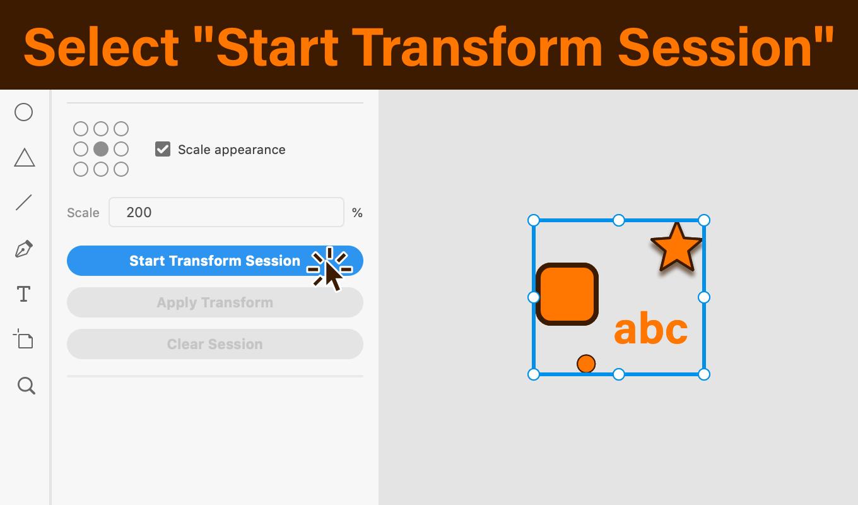 変形したいアイテムを選択し,Start Transform Sessionを実行 説明図版
